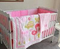 8 Pc Crib Infant Room Kids Baby Bedroom Set Nursery Bedding Pink Bird Cot bedding set for newborn baby girl