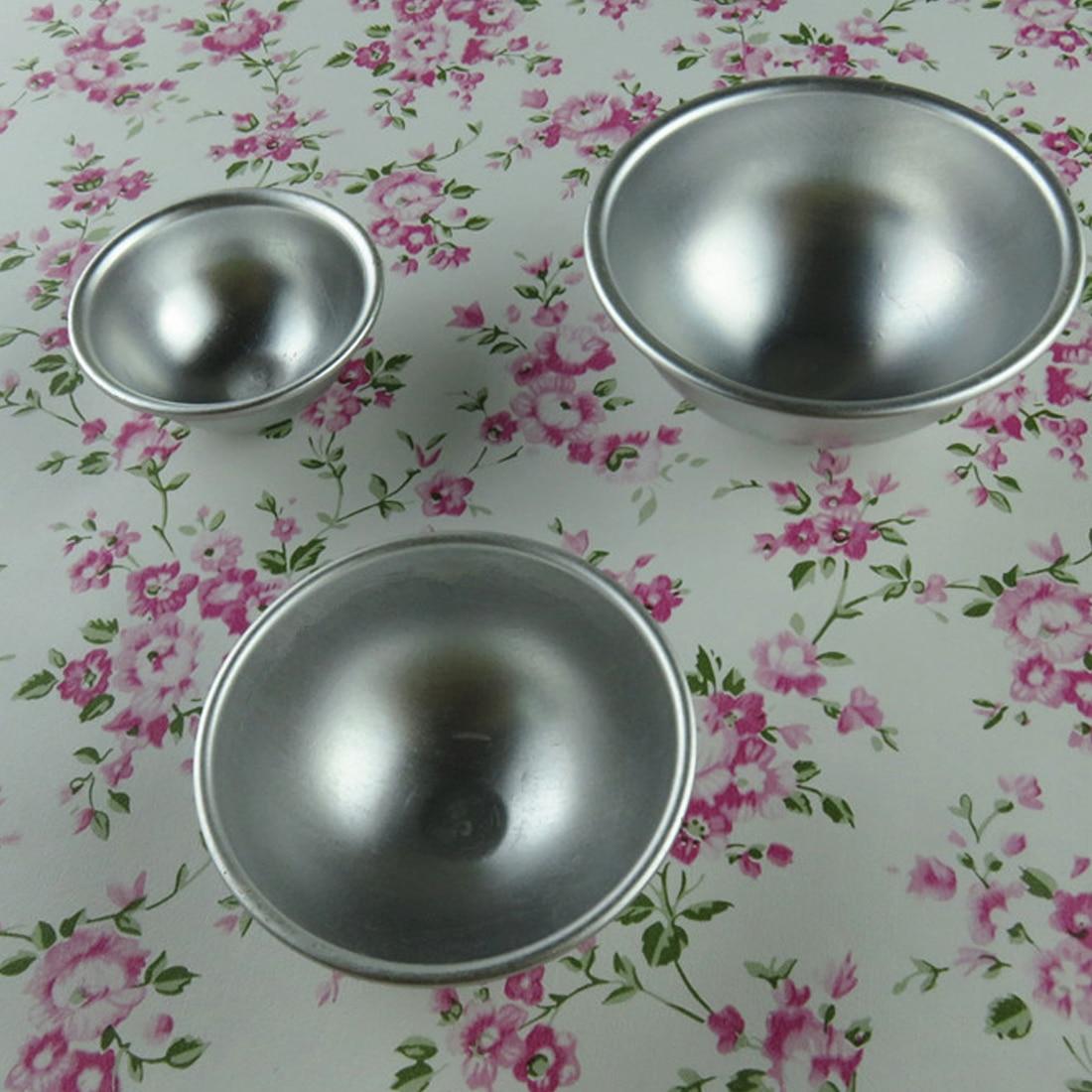 3D Sphere Shape DIY Spa Tool Accessories 1PC 5.5*2.5cm Mini Aluminum Alloy Shallow Semicircle Bath Bomb Salt Ball Metal Mold