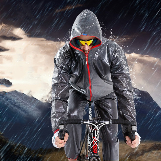Cycling Raincoat Jackets and Pants Set Waterproof TPU Rain Suit with Hooded Bicycle Travel Rain Wear Breathable Dust Poncho Coat