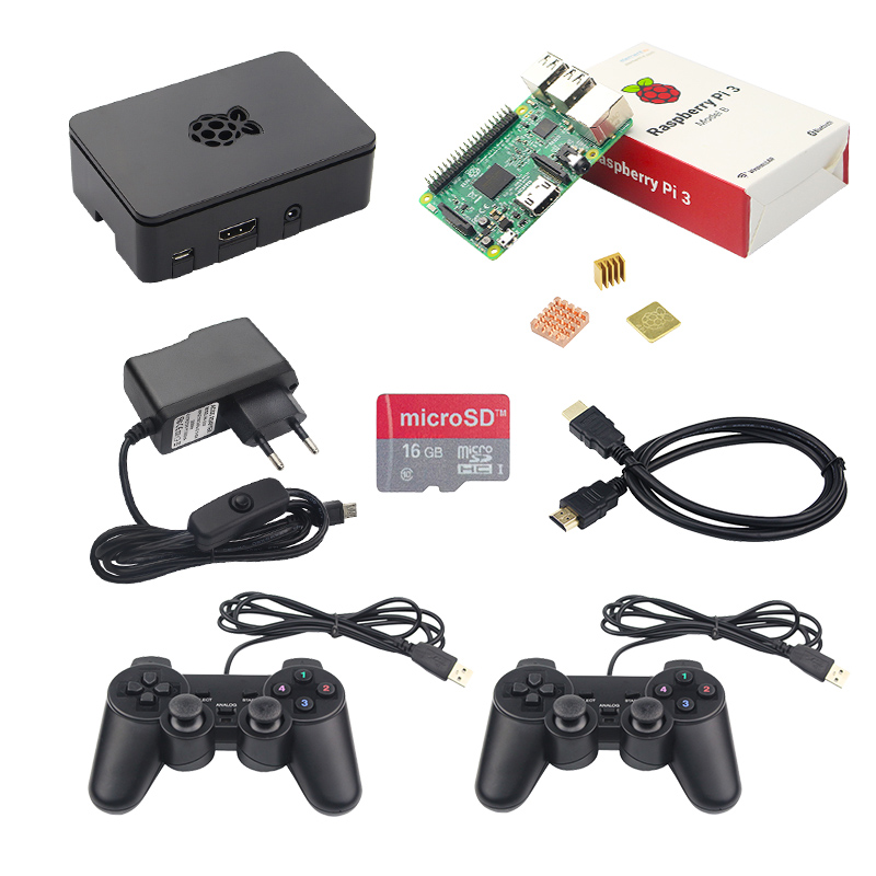 Raspberry Pi 3 Gaming Kit with 2 Classic USB Gamepads+16G SD Card+ABS Case+5V 2.5A Power Supply+HDMI Cable for Raspberry Pi 3B+ usb switch charging cable for raspberry pi tablet cellphone black 150cm