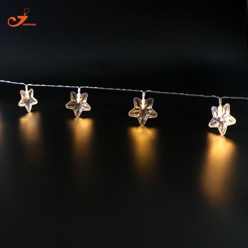 Star Christmas fairy lights 10LED Warm White holiday lighting Wedding garland string light Patio lantern Decor Battery