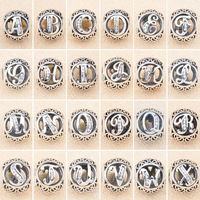 Vinte E Seis letras do vintage 100% Prata Esterlina 925 Charme beads Fit Pulseira DIY pulseira fábrica de Jóias por atacado com logotipo
