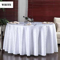 Multi Size Wedding Party Jacquard Polyester Fabric Solid Round Table Cloth Hotel Rectangular Tablecloth Home Dining Table Cover