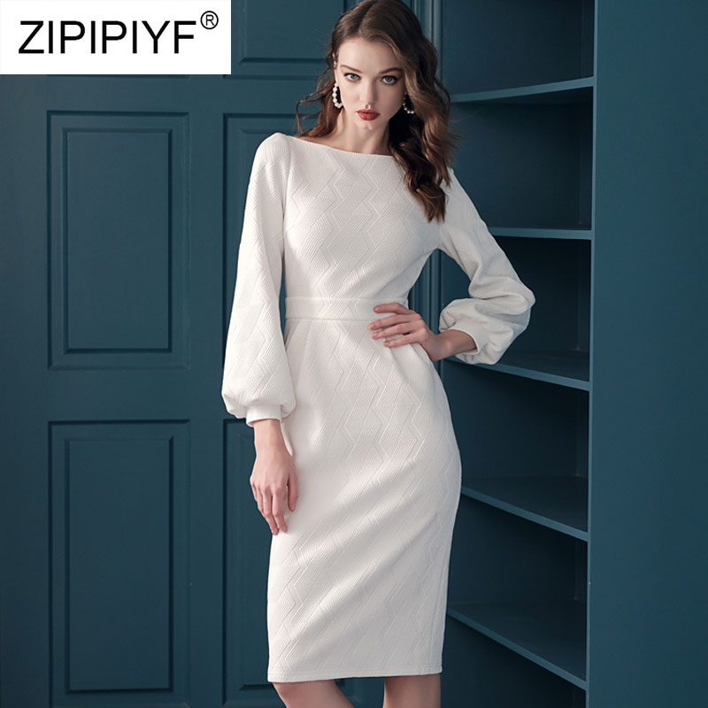 2019 New Fashion Dress Women Knee Length Bodysuit A Line Dresses Elegant Vestidos Long Sleeve White