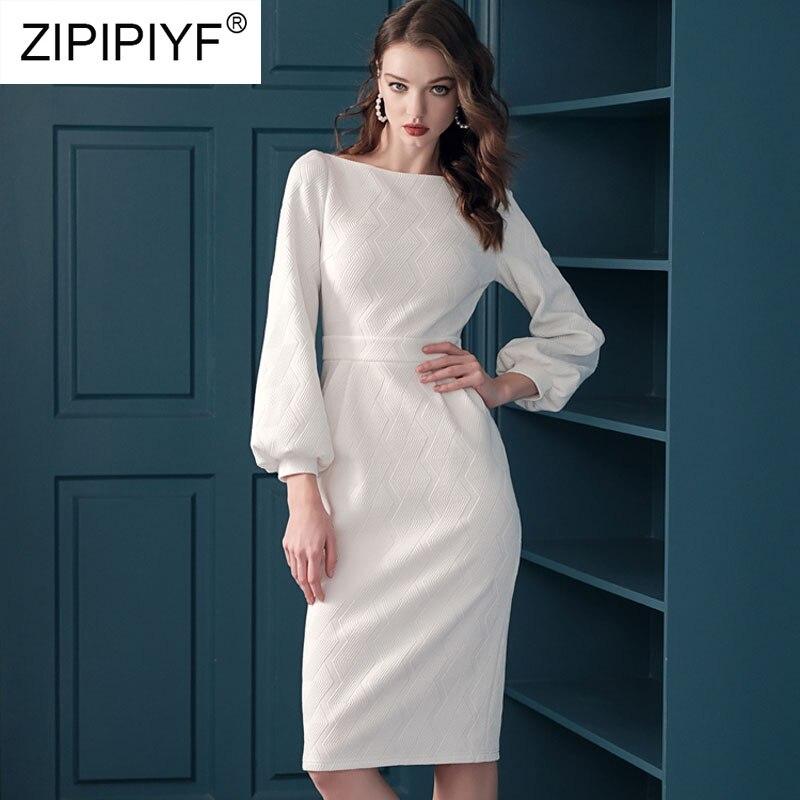 Kadın Giyim'ten Elbiseler'de 2019 Yeni Moda Elbise Kadın Diz Boyu Bodysuit A Line Elbiseler Zarif Vestidos Uzun Kollu Beyaz Ofis Bayan Elbise K054'da  Grup 1