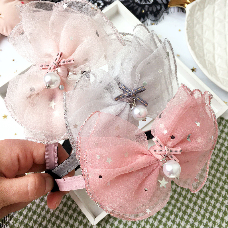 Korea lovely Pearl Flower Hair Accessories For Girls High Quality Hair Band Headband Hair Bow Princess 4