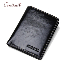 CONTACT'S Men Wallets Genuine Cowhide Leather Male Purses Card Holder Wallet Coin Slim Short Purse Brand High Quality 2017 New