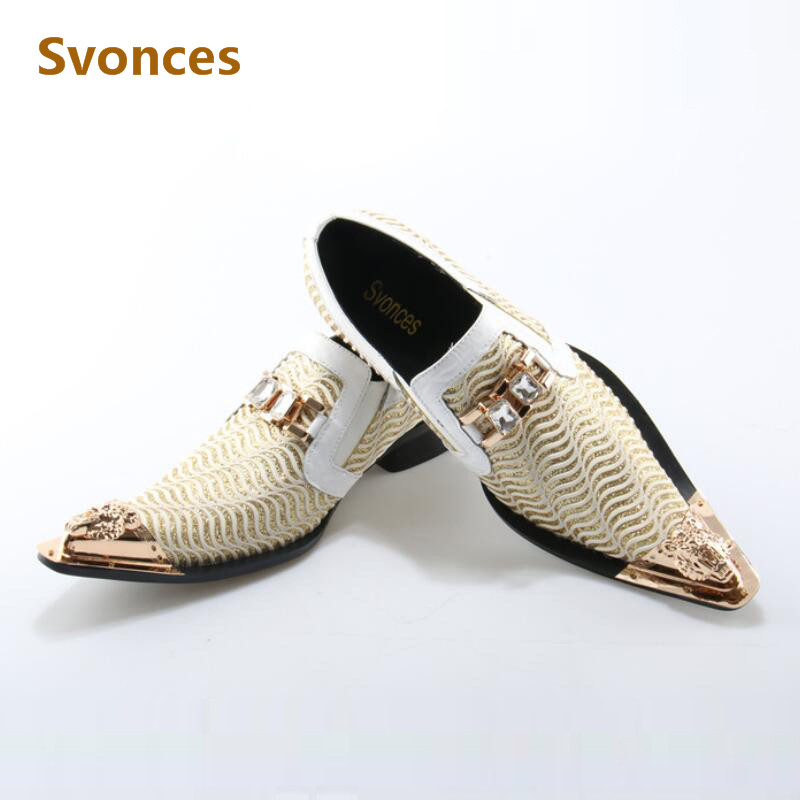 Prom 2019 Stud Brogue Rivet Wingtip Men Shoes Casual Leather Oxfords Patent Dress Party Metal Cheap Pointed Toe Large Size 46 Men's Shoes