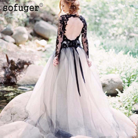 Black Lace And White Tulle Wedding Dresses Sexy V Neck Backless Illusion Long Sleeves Gothic Bridal Gowns