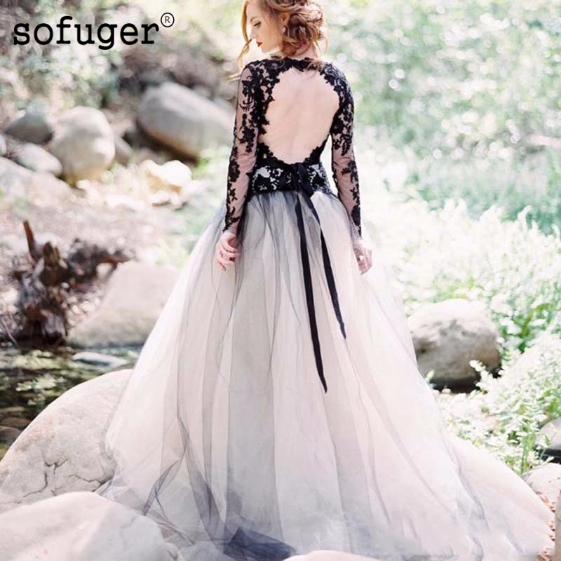 Black Lace And White Tulle <font><b>Wedding</b></font> <font><b>Dresses</b></font> <font><b>Sexy</b></font> <font><b>V</b></font> <font><b>Neck</b></font> Backless Illusion Long Sleeves Gothic Bridal Gowns image