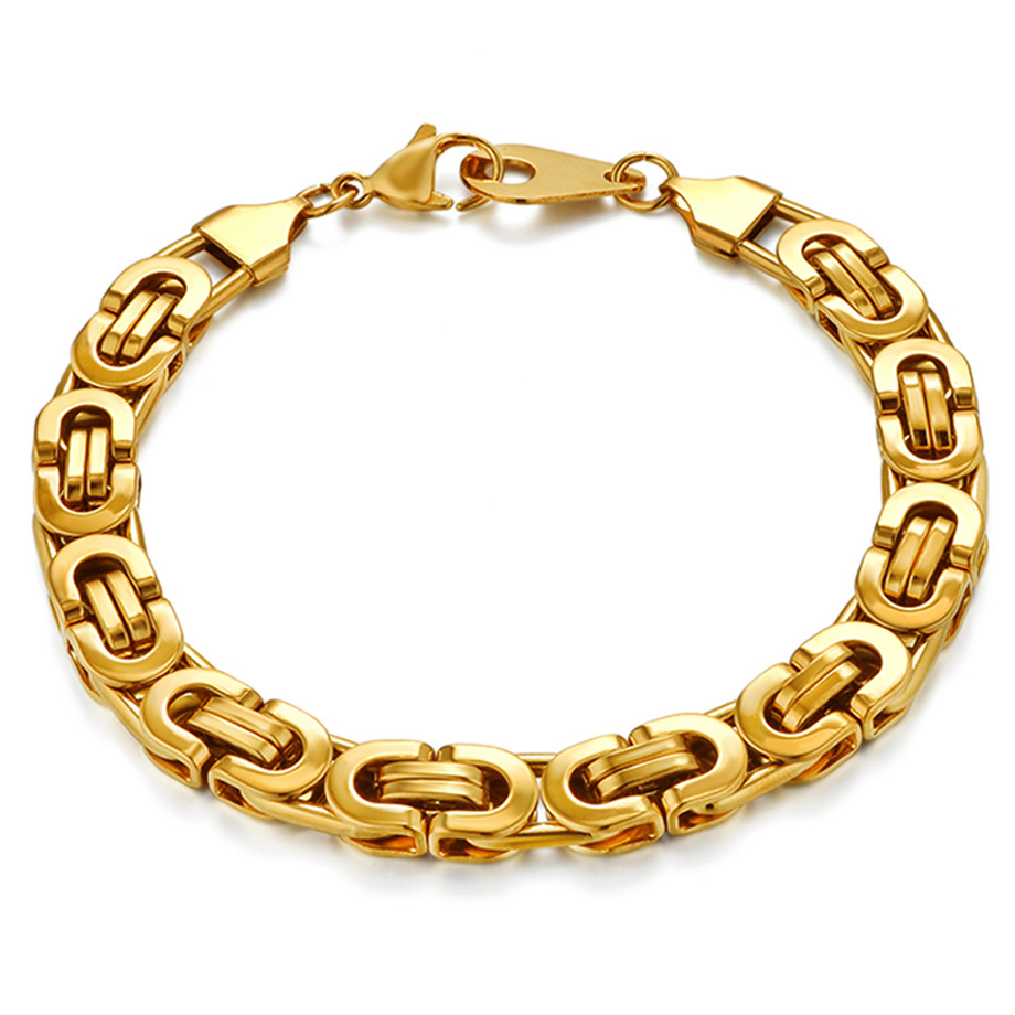 Hip Hop Byzantine Chain Bracelet Men Gold Silver Color Stainless Steel Mens Bracelets Jewelry 6/8mm