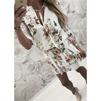 2019 Women Summer Dress Boho Style Floral Print Chiffon Beach Dress Tunic Sundress Loose Mini Party Dress Vestidos Plus Size 2XL 3