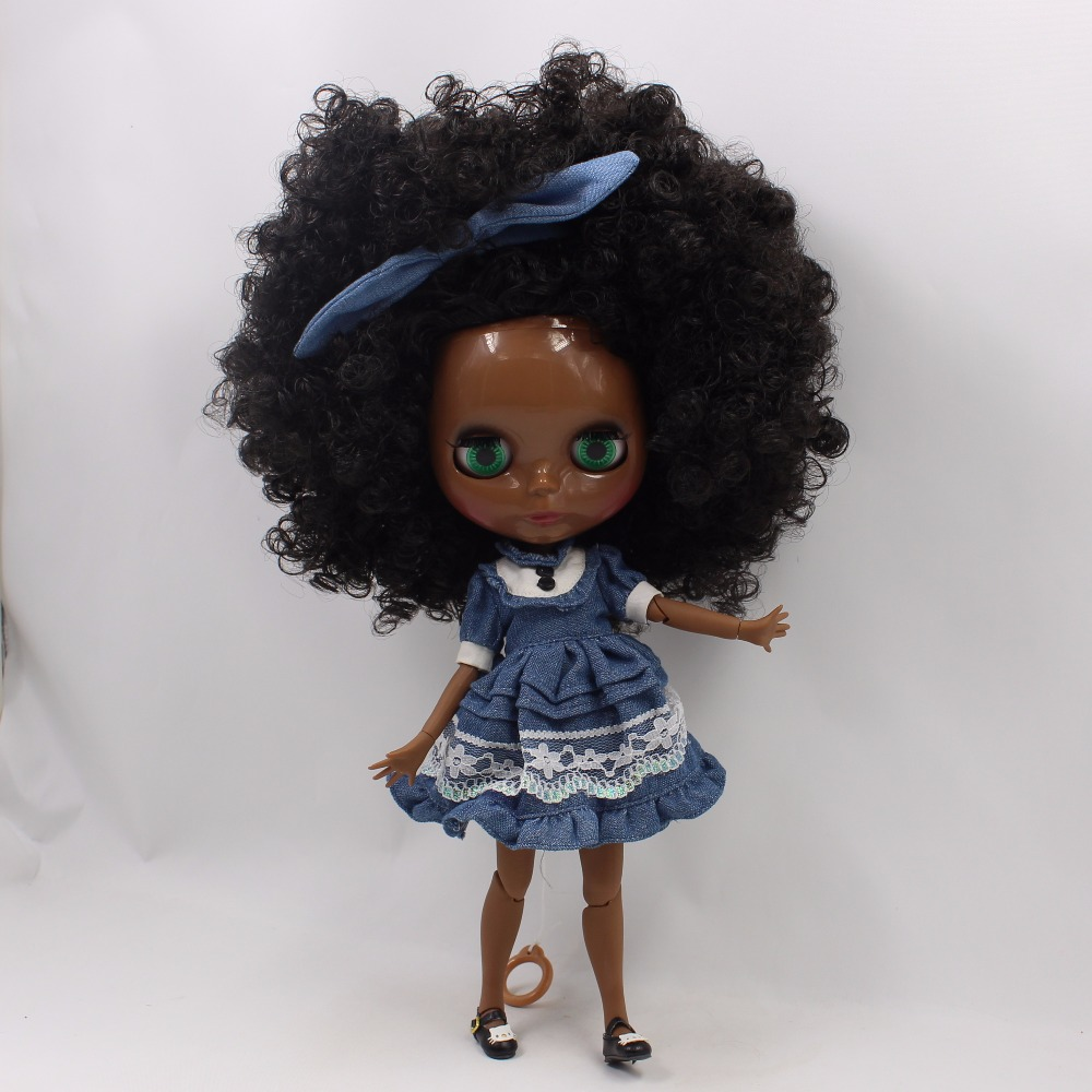 Neo Blythe Doll with Black Hair, Black skin, Shiny Face & Jointed Body 2