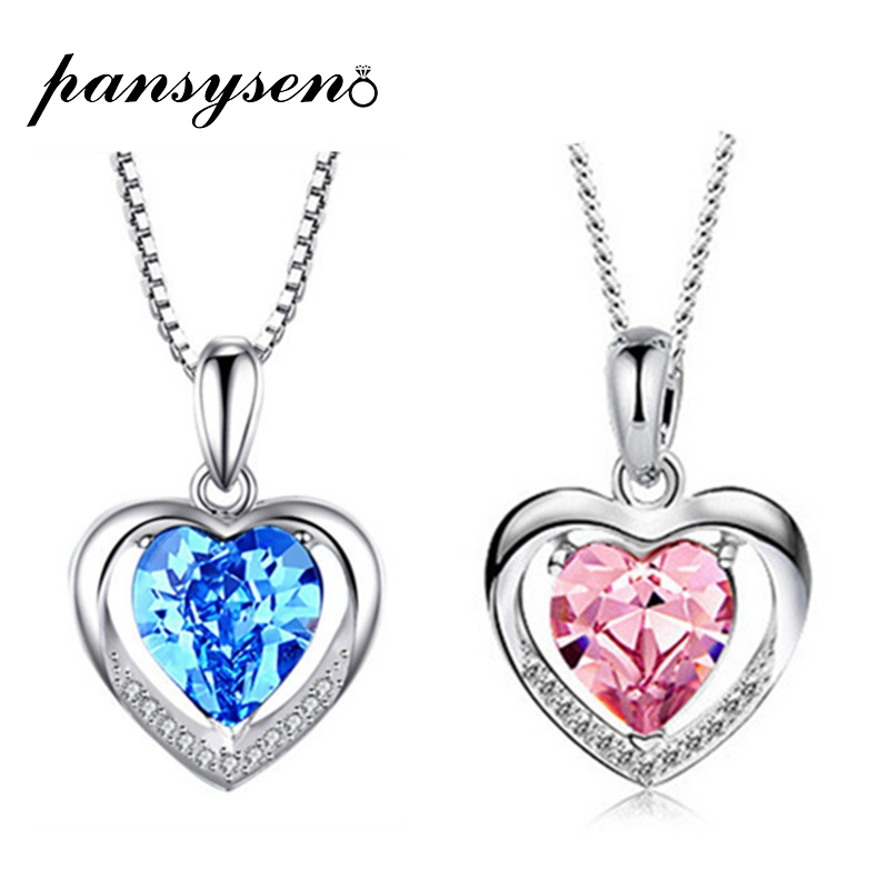 PANSYSEN Love Heart Pendant Necklace With Natural Topaz Birthstone Women's 925 Silver Jewelry Necklaces Wholesale Fine Jewelry