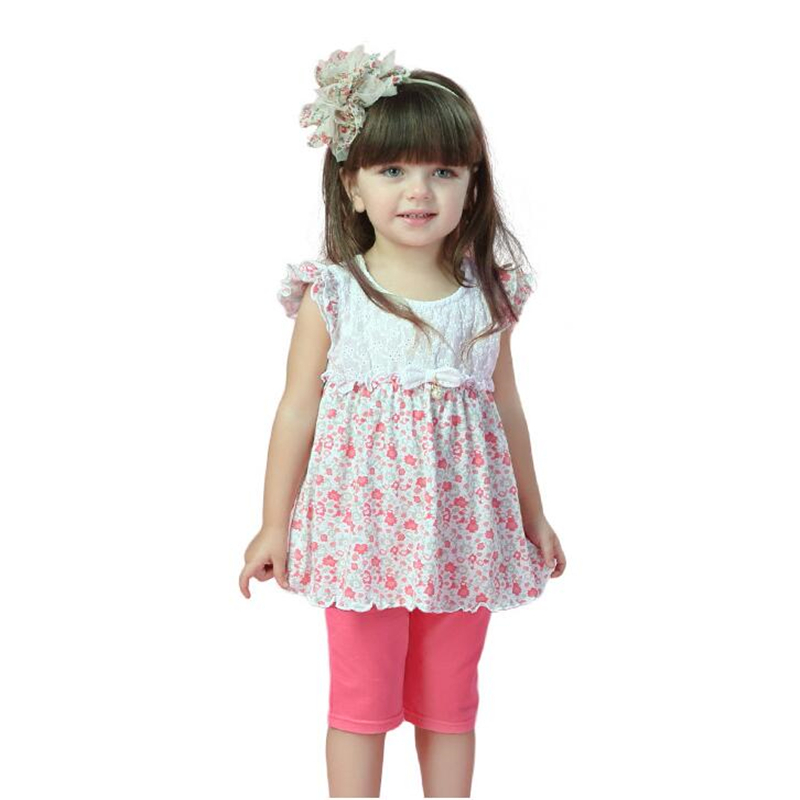 Summer Kids Sport Clothing for Toddler Baby Girls Tops Dress Clothes Sets for Floral Print T-shirts+Shorts Princess Dress Suit