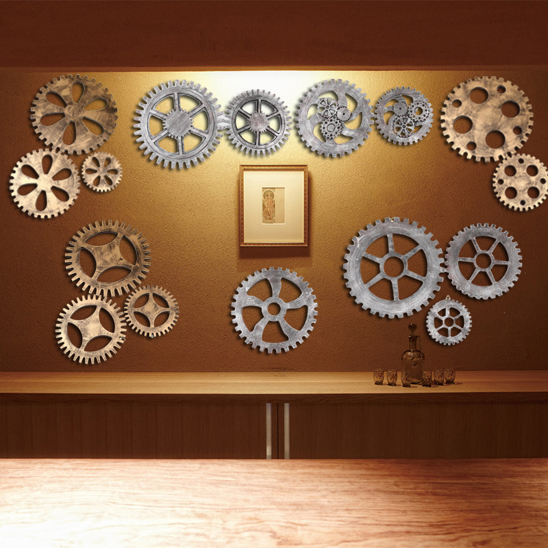 European Style Wooden Gear Wall Art Industrial Antique Vintage Chic Home Bar Barber Shop Wall Decor Old Factory Style Ornaments