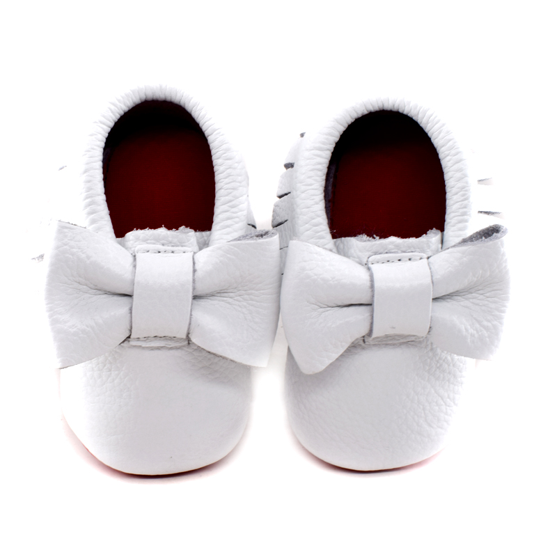 7b1e57c3106 2019 New double bow Genuine Leather Baby moccasins First Walkers Soft red  sole Baby shoes Toddler Infant fringe Shoess-in First Walkers from Mother    Kids ...