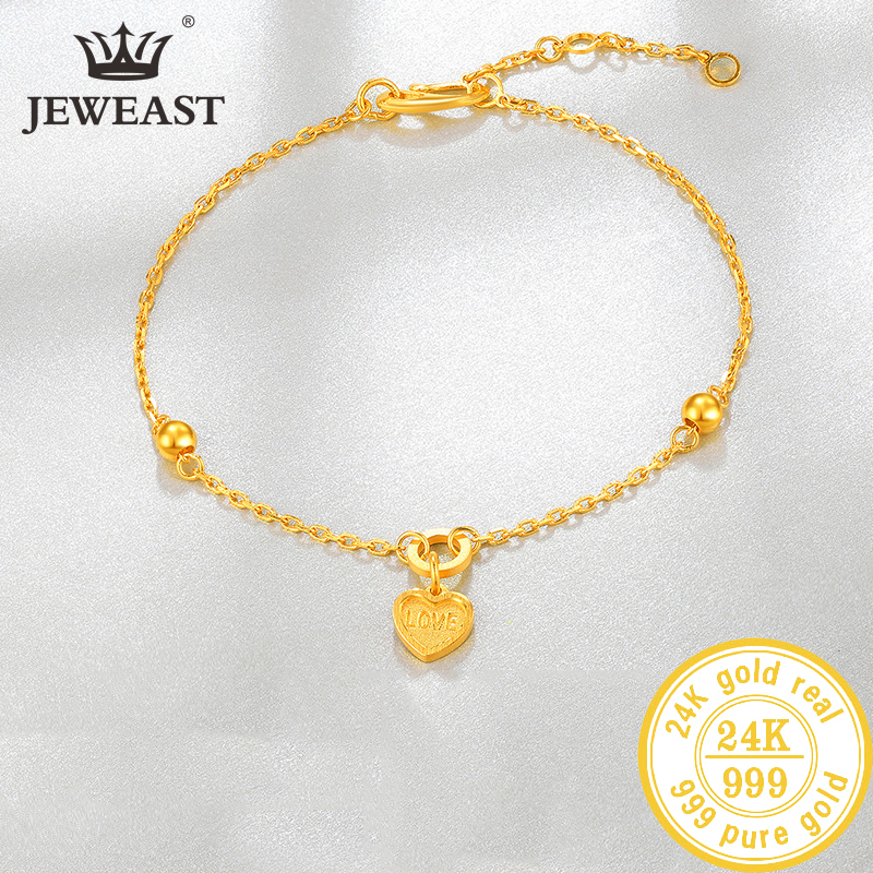 YLJC 24K Pure Gold Bracelet Real 999 Solid Gold Bangle Upscale Beautiful Heart Romantic Trendy Classic Jewelry Hot Sell New 2020