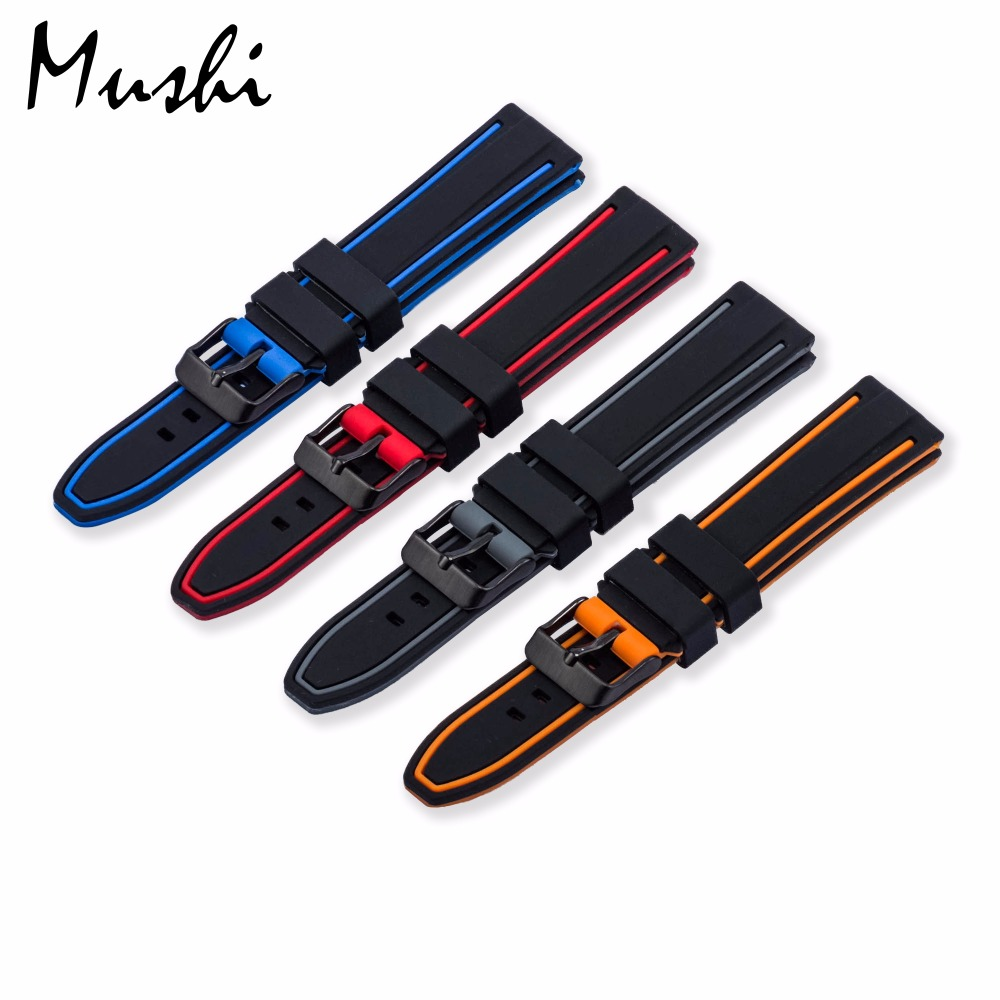 цены Silicone Watchband Black Diver Watch Band Rubber Watch Strap with Brushed Stainless Steel Black Buckle Clasp 20-26mm Watch Strap