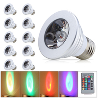 10x 3W High Power E27 RGB LED Bulb Light 16 Color AC85 265V Lampada Changing lamp spotlight with Remote Controller Led Lights