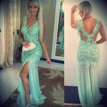 Sexy High Split Light Green Lace Prom font b Dresses b font 2016 Beading V Neck
