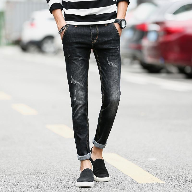 Hot 2017 Autumn Winter New Men's Concise Trend black Jeans men Bound Feet Self-cultivation Elastic Force Cowboy Trousers calida elastic trend бюстье розовый