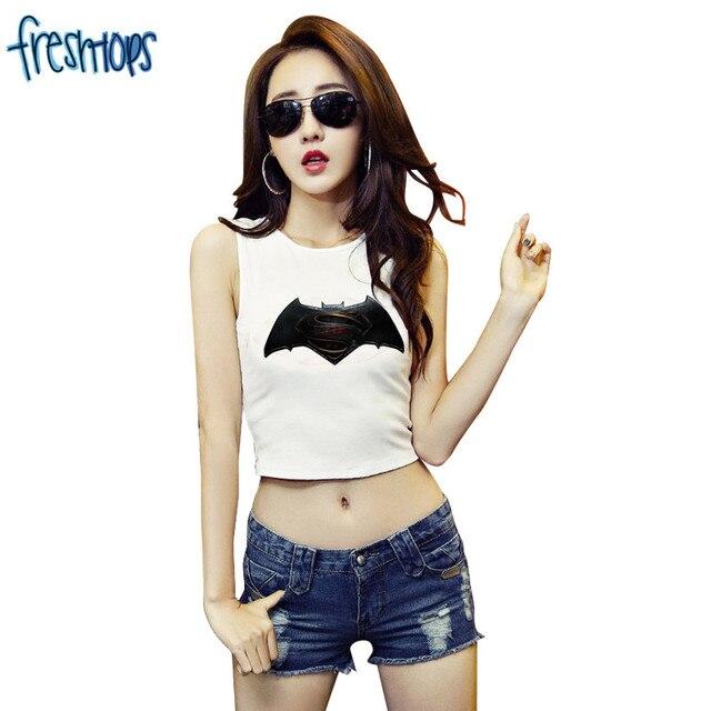 03f07fcad F1810 Summer Style Women Cool Tees Sleeveless White Crop Top Batman VS  Superman Print Tank Tops