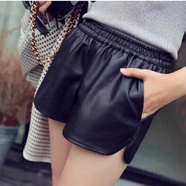 2017 Brand PU Leather Shorts Women's Black High Quality Short Pants With Pockets Loose Casual Shorts