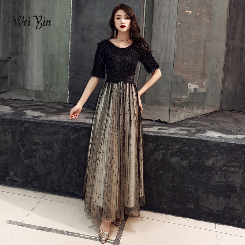 weiyin 2019 New Black Elegant A Line   Evening     Dresses   Satin Lace Long Formal   Evening   Gown Floor Length Women Party   Dresses   WY1345