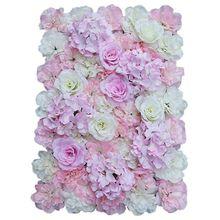 Hot Sale Artificial silk flower wall, DIY wedding home street decoration - light pink + white