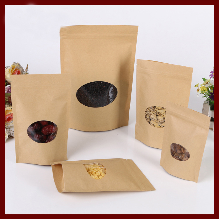 500pcs/lot 20x30 Brown kraft paper bag with round window stand up Zipper/zip lock Jewelry packaging bag paper bags for gifts/tea