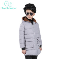Zoe Saldana Boy's Coat 2017 New Winter Letter Pattern Patchwork Cotton Thicken Casual Parkas Teenager Boy Warm Hooded Long Coats