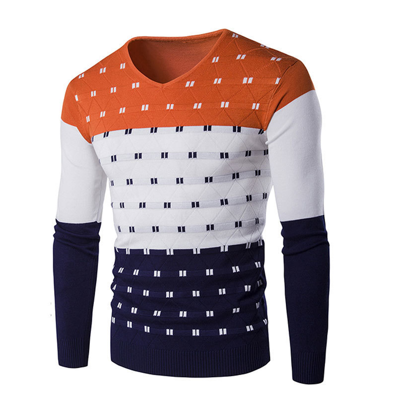 2019 Spring Autumn Men's Patchwork Sweater Cotton Thin Slim V-neck Pullover Simple Warmer Comfortable Outware Clothing Low Price