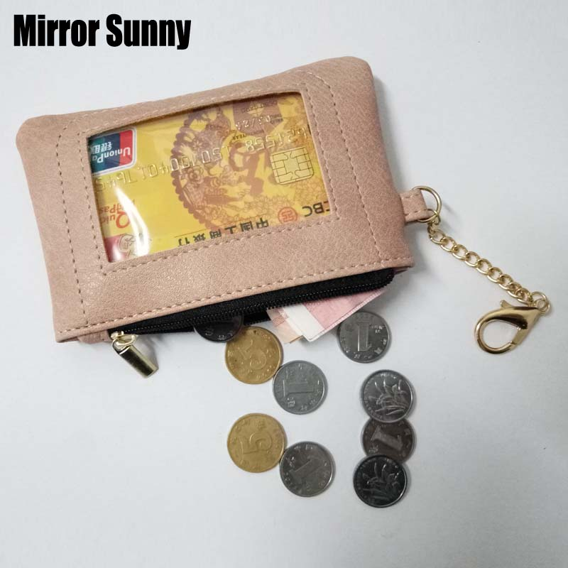 New Arrivals Solid Color PU Leather Coin Purse ID Card Holder Wallet For Men Women With ID Window Small Zipper Pocket Portable