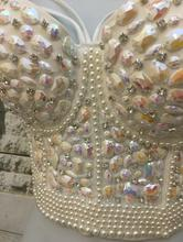 Gorgerous Rhinestone Bead Pearls Bustier Push Up Wedding Bralette Women's Bra Cropped Top Vest Plus Size AW513