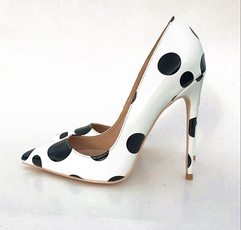 Femme Grande Pointu Pompes Bout Cm Mignon Si 10 Kate Taille Chaussures Talons En Robe 12cm 10cm 12 Hauts Verni Points Cuir Femmes Blanc Partie Noir Avec RwpqBPB