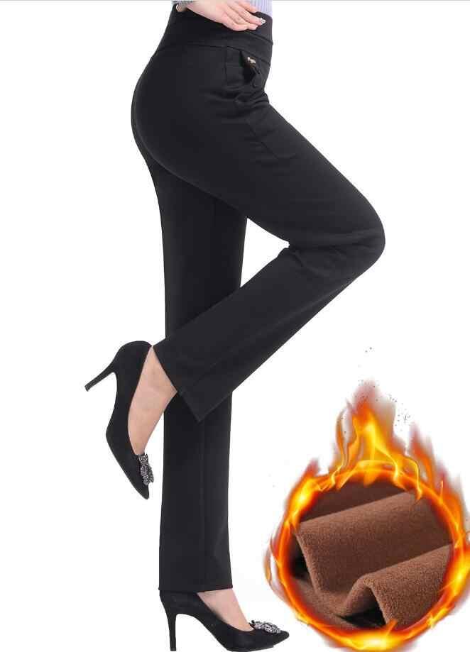 2019 新冬の女性のプラスベルベットパンツカジュアルパンツハイウエスト女性暖かいストレートパンツプラスサイズ 5XL r92