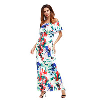 2019 Sexy elegant women dress Navy Blue Roses Print Off the shoulder Maxi Dress Summer Beach Party Gowns slit long