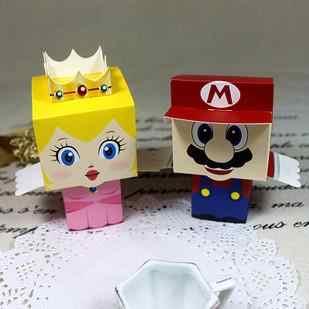 50 pçs dos desenhos animados super marie bros princesa noiva e noivo favores de casamento mario caixa de doces presentes de casamento chá de fraldas favores