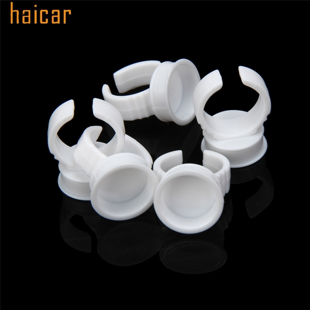 HAICAR Love Beauty Female  50pcs Microblading Pigment Glue Rings Tattoo Ink Holder For Half Permanent 161027 Drop Shipping 5