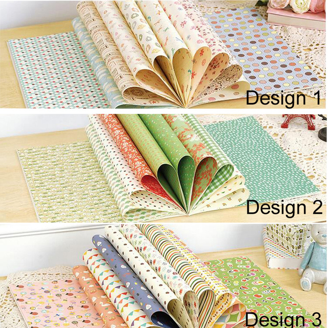Decorative Wrapping Paper Book,Scrapbooking Paper,16 designs, 1 sheet each design, 16 sheets/set,448mm*303mm,Green, pink,origami