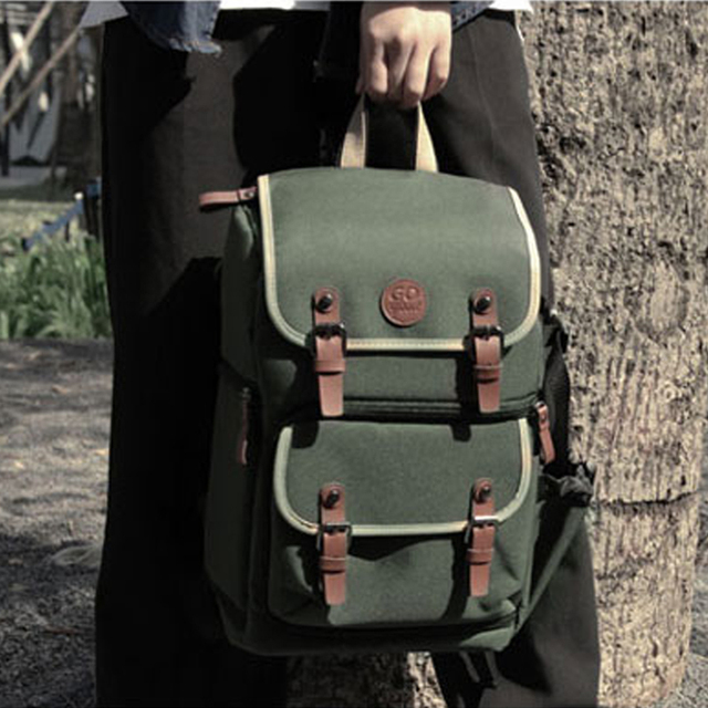 75afa1dcf322 US $56.99 5% OFF|Roadfisher Vintage Waterproof DSLR SLR Photography Camera  Video Backpack 14'' Laptop Bag Insert Rucksack For Canon Nikon Sony-in ...