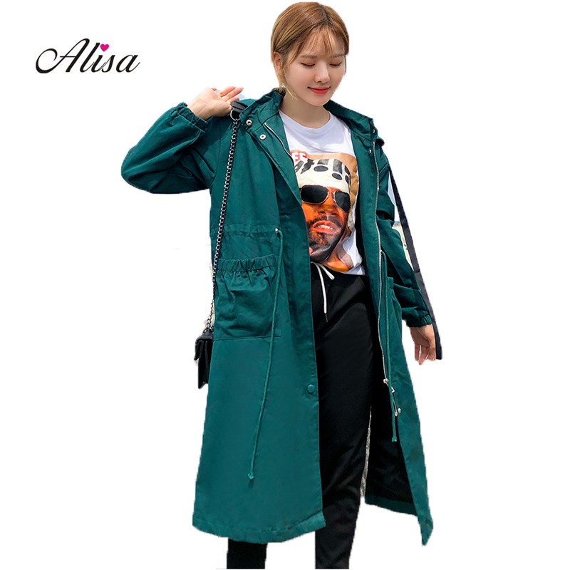 Plus Size Long Coat Women Causal   Trench   2018 New Autumn Long Sleeve Hoodies Female Overcoat Woman Loose Harajuku Windbreaker