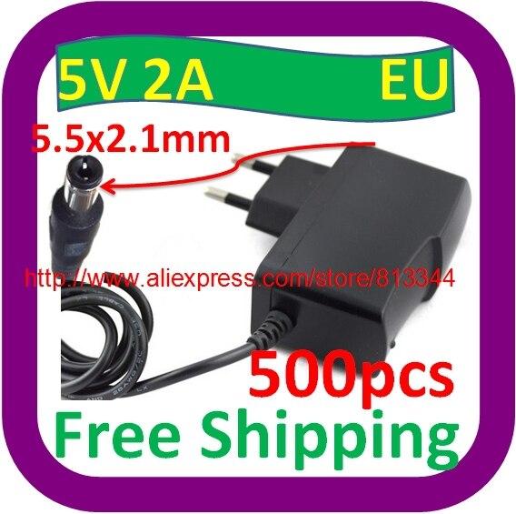 500 шт в наборе, 100 V-240 адаптер конвертер DC 5 V 2A/2000mA Питание штепсельная вилка европейского стандарта AC/DC 5,5 мм x 2,1 мм