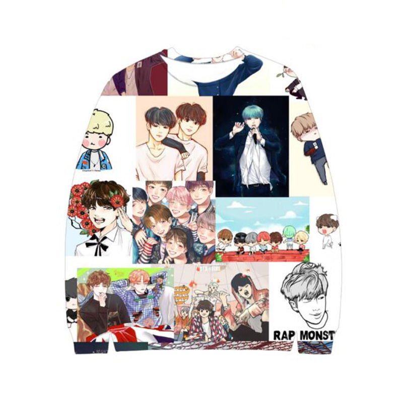 BTS KPOP 3D Hoodies Women Unisex Bangtan Boys Album Cartoon Print Fan Supportive Harajuku Sweatshirt Tracksuits Sudaderas Mujer