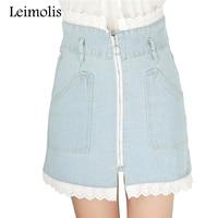 Leimolis תפרים תחרה מתוקה מותן באורך הברך חצאית קצרה ג 'ינס נשים 2017 אביב סתיו אופנה חמה פסים אונליין חצאית