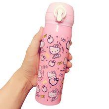 Sevimli hello kitty termos bardak termo kupa paslanmaz çelik termos şişe yalıtımlı su şişesi termos termal bardak