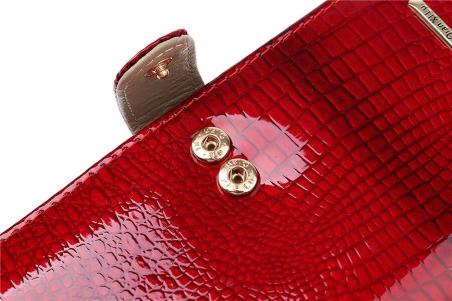 carteiras femininas jacaré grão vertical ferrolho sólido