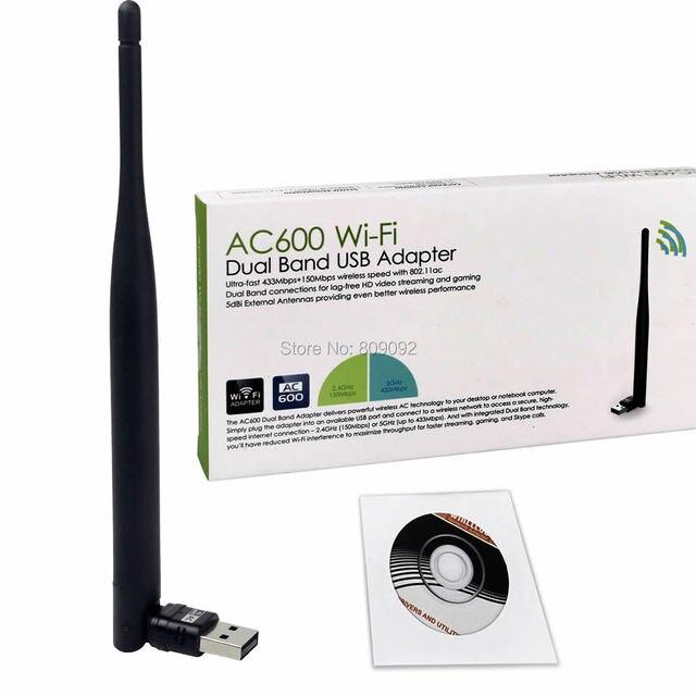 Новый мини 2.4 ГГц и 5 ГГц беспроводной USB AC600 двухдиапазонный 802.11ac антенны Wifi сетевой адаптер сетевой карты