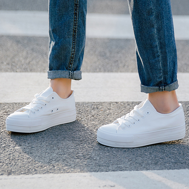 Hot Sale Fashion Women White Canvas Shoes Concise Low Top Casual Flat Student Shoes Lace Up Solid Canvas Walking Platform Shoes hot sale 2016 top quality brand shoes for men fashion casual shoes teenagers flat walking shoes high top canvas shoes zatapos
